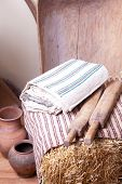 Vintage household items and homespun cloth