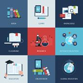 Set of icons for education include distance education, e-learning