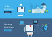 picture of education  - Set of flat design concept icons for distance and global education - JPG