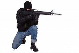 foto of m16  - Robber with M16 rifle isolated on white background - JPG