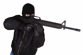 stock photo of m16  - Robber with M16 rifle isolated on white background - JPG
