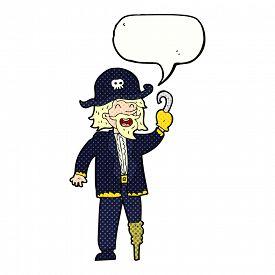 stock photo of peg-leg  - cartoon pirate captain with speech bubble - JPG