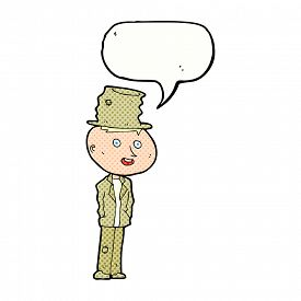 picture of hobo  - cartoon funny hobo man with speech bubble - JPG