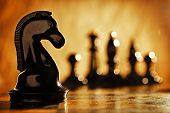 pic of chess pieces  - Chess knight chess pieces in front and in the background - JPG