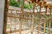 foto of scaffold  - the scaffold and building structure during construction - JPG