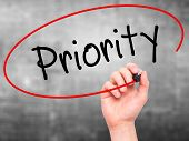 image of priorities  - Man Hand writing Priority with marker on transparent wipe board - JPG