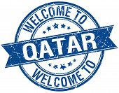 picture of qatar  - welcome to Qatar blue round ribbon stamp - JPG