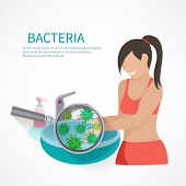picture of personal hygiene  - Hygiene concept with woman washing hands and bacteria icons flat vector illustration - JPG