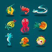 stock photo of creatures  - Cute sea life creatures cartoon animals set with fish octopus jellyfish isolated vector illustration - JPG