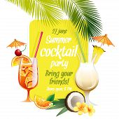 pic of pina-colada  - Vector illustration Beach tropical cocktails bahama mama and pina colada with garnish colorful poster - JPG