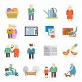 pic of retirement  - Retired couple of aged pensioners with pets life style concept flat icons set abstract isolated vector illustration - JPG