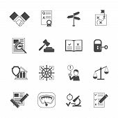 image of policy  - Legal compliance terms abidance work policy black icons set isolated vector illustration - JPG