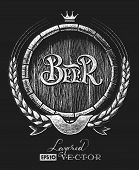 stock photo of drawing beer  - Vector barrel of beer with wheat wreath drawn on the chalkboard - JPG