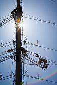 image of industrial safety  - Worker repairing a high voltage industrial power energy line - JPG