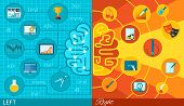 stock photo of right brain  - Left and right half brain difference math logic or art and creativity function in varied colors and icons flat paper - JPG
