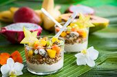 picture of papaya fruit  - Healthy breakfast with exotic fruits - JPG