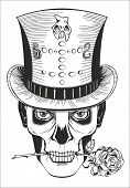image of day dead skull  - day of the dead baron samedi drawing vector - JPG
