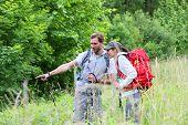 foto of vegetation  - Backpackers on hiking journey looking at vegetation - JPG