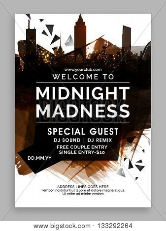 Midnight Party Template, Dance Party Flyer, Night Party Banner or Club Invitation design with abstra