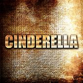 cinderella, 3D rendering, metal text on rust background poster