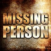 missing person, 3D rendering, metal text on rust background poster
