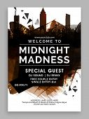 Midnight Party Template, Dance Party Flyer, Night Party Banner or Club Invitation design with abstra poster