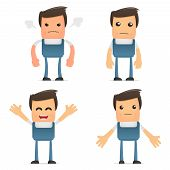 pic of pipefitter  - set of funny cartoon office worker in various poses for use in presentations - JPG