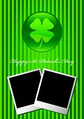 Happy St Patrick's Day card vector with two blank picture frame
