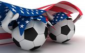 Two soccer balls hold flag