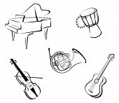 stock photo of acoustic guitar  - Set of musical instruments for music design - JPG