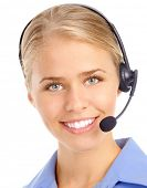 Beautiful Customer Service Operator weiblich mit Headset. Over white background