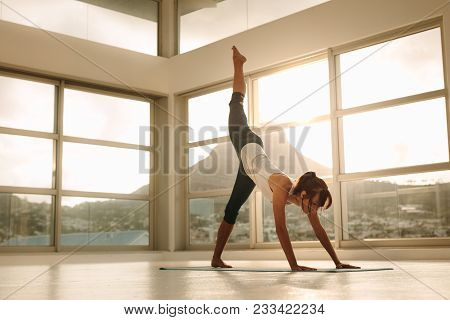 poster of Fit Woman Practicing Downward Facing Dog Pose With One Leg Stretching Upward In Fitness Studio. Fitn