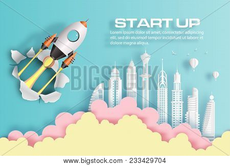 poster of Paper Art Style Of Rocket Breaking Through Paper Over Modern City, Start Up Business Concept, Flat-s