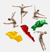 Collage From Images Of Male Athletic Ballet Dancer Performing Dance Isolated On White Background. St poster