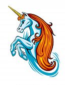 stock photo of unicorn  - Fantasy unicorn in cartoon style for tattoo design - JPG