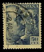 SPAIN-CIRCA 1939:A stamp printed in SPAIN shows image of Francisco Paulino Hermenegildo Teodulo Fran
