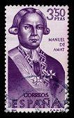 SPAIN-CIRCA 1966:A stamp printed in SPAIN shows image of Felipe Manuel Cayetano de Amat y de Juniet