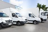 Commercial Delivery Vans Park In Transport Parking Place Of Transporting Carrier Shipping Service Co poster