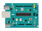 Diy Electronic Board With A Microprocessor, Interfaces, Leds, Connectors, And Other Electronic Compo poster