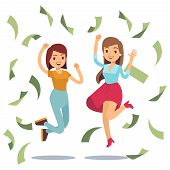 Happy Successful Housewifes In Money Rain. Happy Jumping Women And Money. Falling Money Banknote, Ve poster