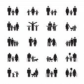Family Pictograms. Grandparents, Father, Mother, Son And Daughter Figures. People Demographics Vecto poster