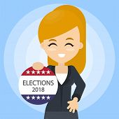 American Election Campaign. Woman With Election Ad. poster