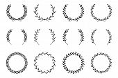 Collection Of Different Laurel Wreaths. Hand Drawn Vector Round Frames For Invitations, Greeting Car poster