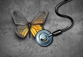 Medical Recovery And Healing Through Doctor Rehabilitation Concept As A Grey Butterfly Being Revived poster