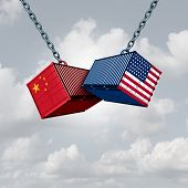 China Usa Trade War And American Tariffs As Two Opposing Cargo Freight Containers In Conflict As An  poster