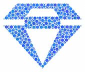 Diamond Composition Of Round Dots In Different Sizes And Color Tinges. Round Dots Are Combined Into  poster