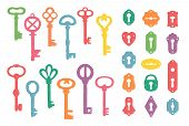 Vintage Colorful Keys And Keyholes Collection. Vector Illustration. poster