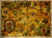 Ancient Pirate Map With Old Pirate Sailboats, Treasure Islands And Baroque Banner. Decorative Antiqu poster