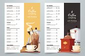 Vector Coffee Card Design Template. Coffee Menu A4 Concept With Illustration And Text. Cream And Dar poster