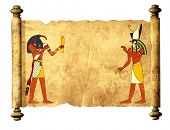 Old parchment with Egyptian gods images Toth and Horus. Mock up template. Copy space for text. Isola poster